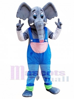 Elefante con mono azul Disfraz de mascota