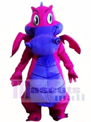 Dibujos animados lindo dragón púrpura Disfraz de mascota