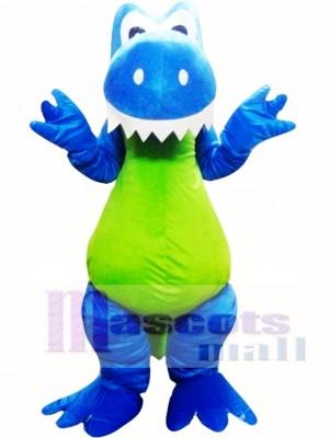 Dinosaurio verde azul adulto Disfraz de mascota