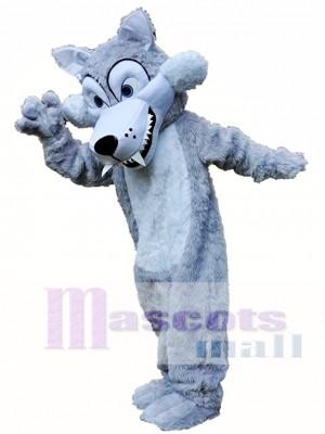 Lobo gris largo Disfraz de mascota