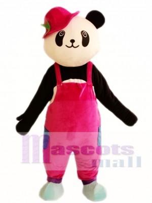 Panda lindo con sombrero rojo Disfraz de mascota