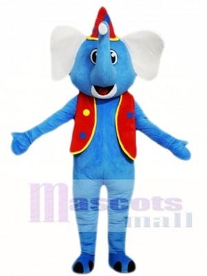 Elefante azul con sombrero rojo Disfraz de mascota