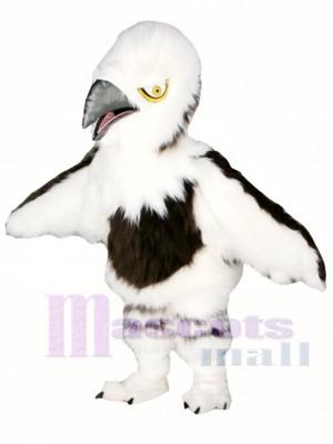 Águila mullida blanca Personaje animado Disfraz de mascota