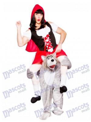 Los adultos me llevan Lobo con Caperucita Roja Traje de la mascota