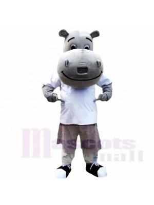 Hipopótamo gris con camisa blanca Disfraz de mascota
