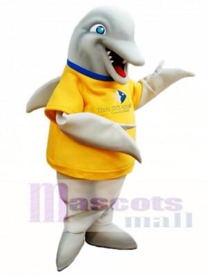 Delfín gris con camisa amarilla Disfraz de mascota