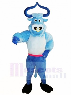 Buey Toro Músculo Azul Lindo Disfraz de mascota