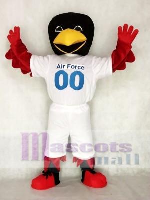 Pájaro rojo de la fuerza aérea con camiseta disfraz de mascota