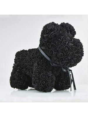 Negro Perro cachorro rosa Perro Cachorro Flor El mejor regalo para el Día de la Madre, San Valentín, Aniversario, Bodas y Cumpleaños