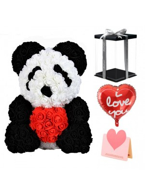 Panda Oso rosa con Corazón rojo El mejor regalo para el Día de la Madre, San Valentín, Aniversario, Bodas y Cumpleaños