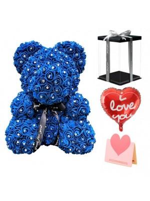 Diamante Azul real Osito de peluche rosa Oso de flores El mejor regalo para el Día de la Madre, el Día de San Valentín, Aniversario, Bodas y Cumpleaños