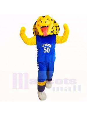 Serpiente Cobra Deportiva con Camisa Azul Disfraz de mascota