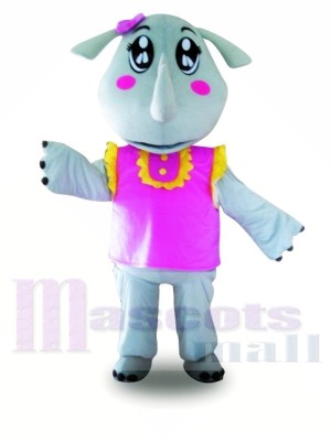 Rinoceronte chaleco rosa Disfraz de mascota