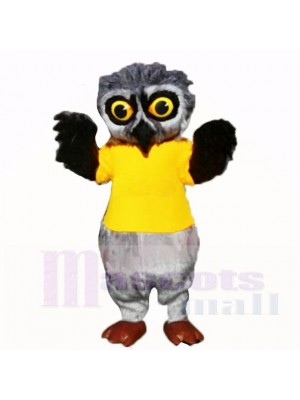 Búho peludo gris con camisa amarilla Disfraz de mascota