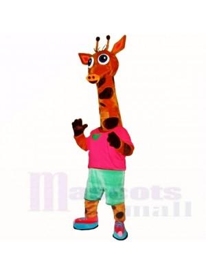 Jirafa deportiva ligera con camisa roja Disfraz de mascota