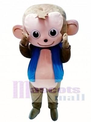 Mono lindo en chaqueta azul Disfraz de mascota