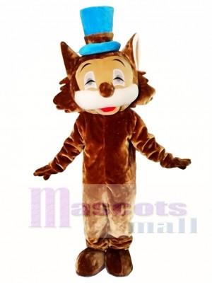 Gato marrón con sombrero azul Disfraz de mascota