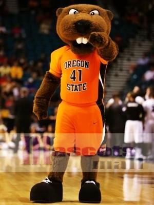 Castor en traje deportivo naranja Disfraz de mascota