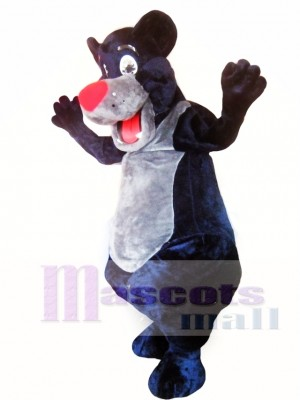Oso negro con nariz roja Disfraz de mascota