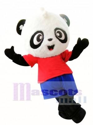 Panda nuevo con camiseta roja Disfraz de mascota