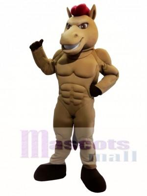 Potente caballo marrón Disfraz de mascota