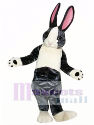 Conejito de Pascua Blanco y Negro Orejas Rosadas Disfraz de mascota