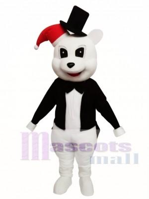 Oso blanco con chaqueta negra Disfraz de mascota