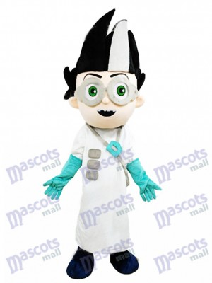 Científico malvado en uniforme blanco Disfraz de mascota Dibujos animados