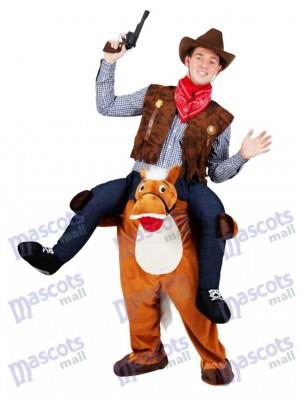 A cuestas Caballo salvaje occidental Llévame Seguir adelante Disfraz de mascota