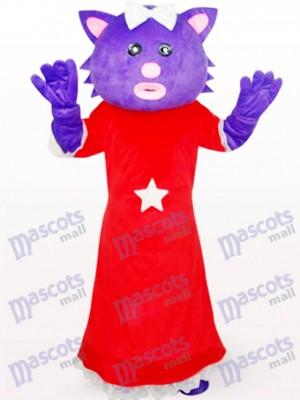 Oso morado en vestido rojo Disfraz de mascota animal