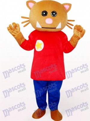 Oso pardo en ropa roja Disfraz de mascota animal