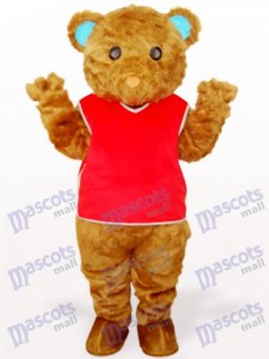 Oso Pardo con Chaleco Rojo Disfraz de mascota animal