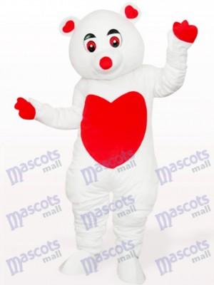 Oso cariñoso blanco Disfraz de mascota animal