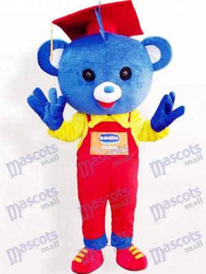 Doctor oso azul con sombrero rojo Disfraz de mascota animal