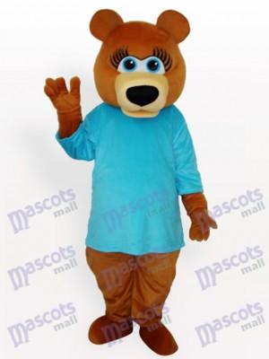 Oso pardo en camiseta azul Disfraz de mascota animal