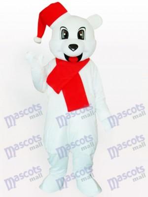 Oso blanco con gorro de Papá Noel Disfraz de mascota