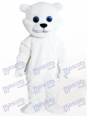 Oso blanco ojos grandes Disfraz de mascota