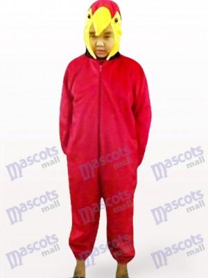 Loro rojo Pájaro infantil de cara abierta Disfraz de mascota