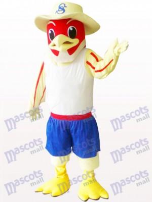Pájaro rojo con sombrero Disfraz de mascota Animal