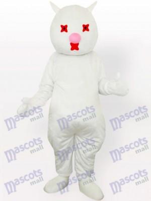 Nariz rosada de gato blanco Disfraz de mascota