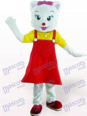 Gata en vestido rojo Disfraz de mascota Animal