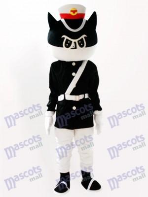 Detective gato negro Dibujos animados Disfraz de mascota