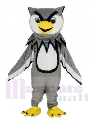 Búho gris con Pico amarillo Disfraz de mascota Pájaro