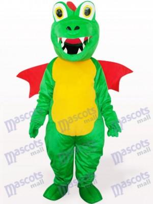 Dinosaurio verde con ala roja Adulto Disfraz de mascota Animal