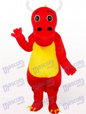 Vientre Amarillo Dinosaurio Rojo Disfraz de mascota Animal
