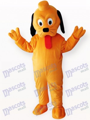 Perro amarillo con larga lengua roja Disfraz de mascota Animal
