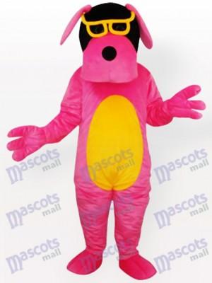 Perro rosa con vientre amarillo y gafas Disfraz de mascota