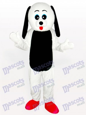 Perro de vientre blanco con orejas negras Disfraz de mascota