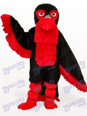 Águila de pelo largo negro y rojo Disfraz de mascota