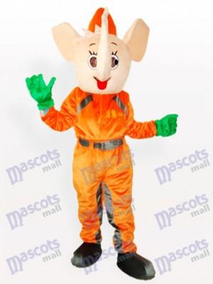 Elefante en ropa naranja Disfraz de mascota